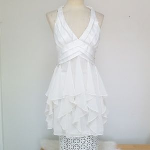 White gauzy halter dress